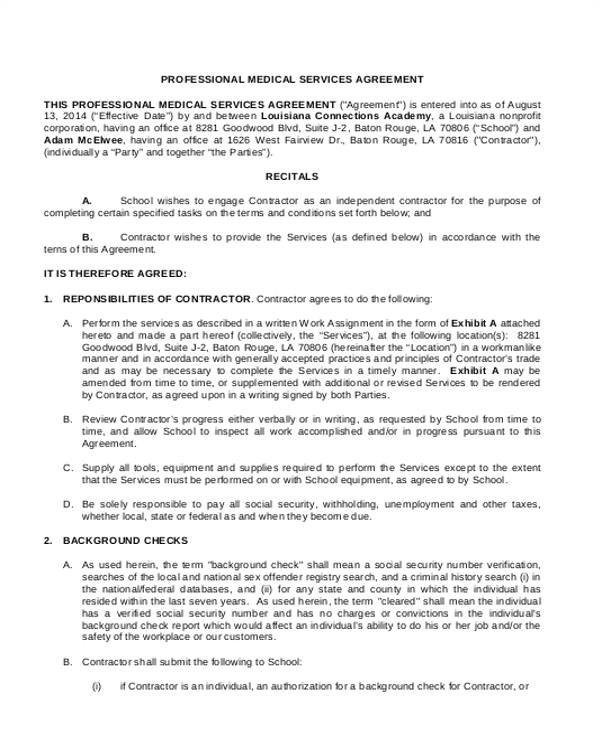 sample service agreement form