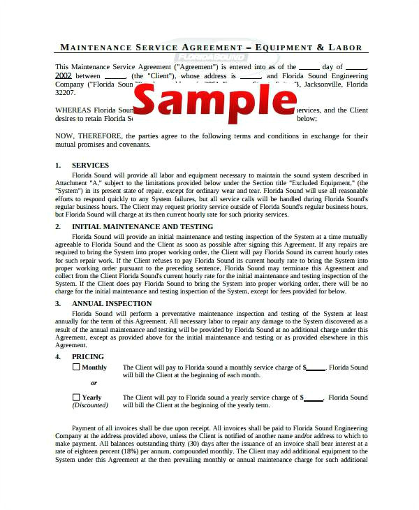 Medical Equipment Service Contract Template Lavirgen Co
