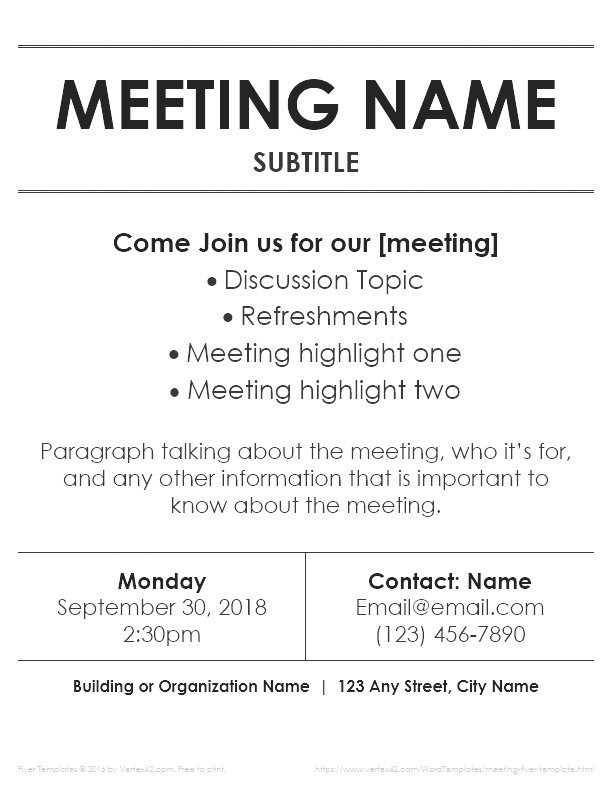 Meeting Flyer Template Free Meeting Flyer Templates for Word