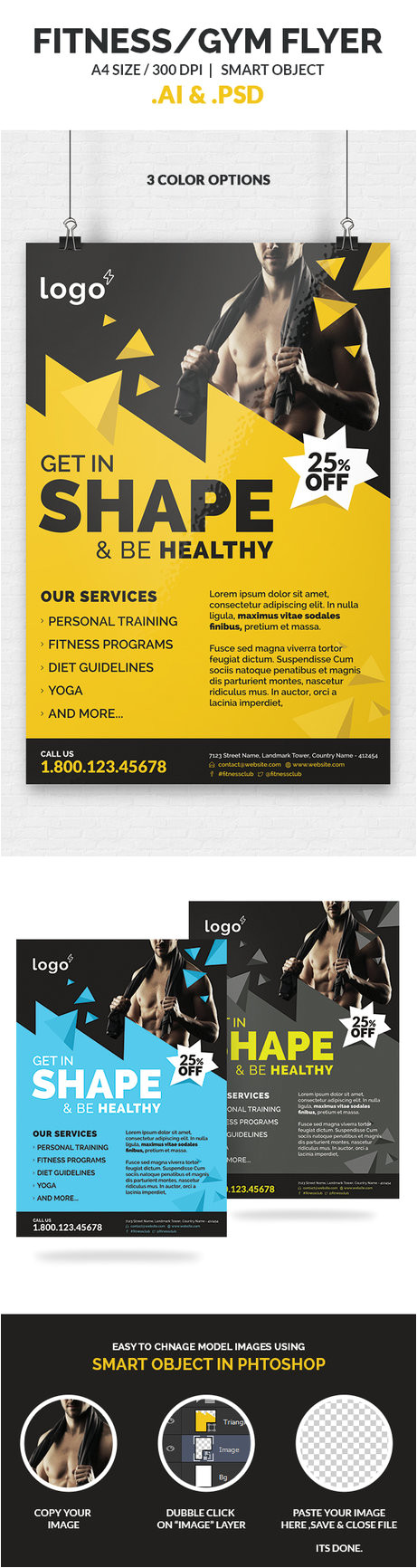 fitness gym flyer template 510774956