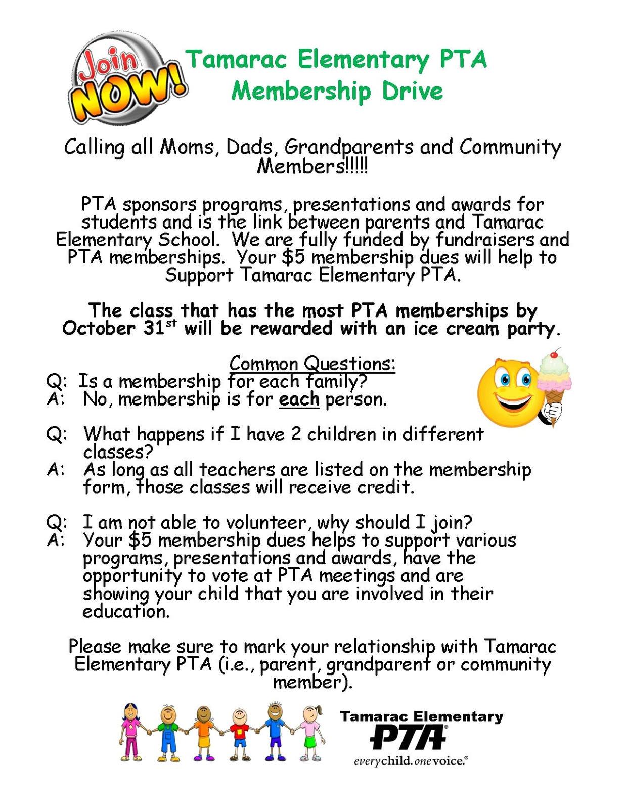 pta membership drive through october