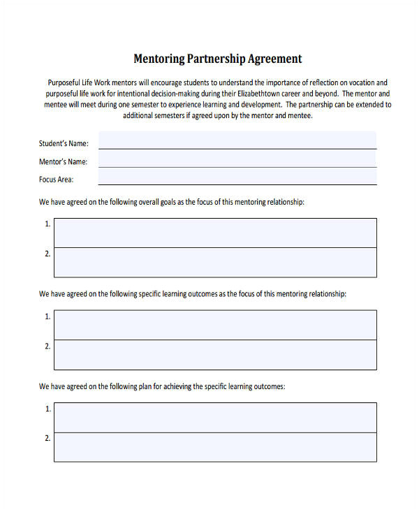 Mentor Contract Template 60 Examples Of Partnership Agreements Word Apple Pages