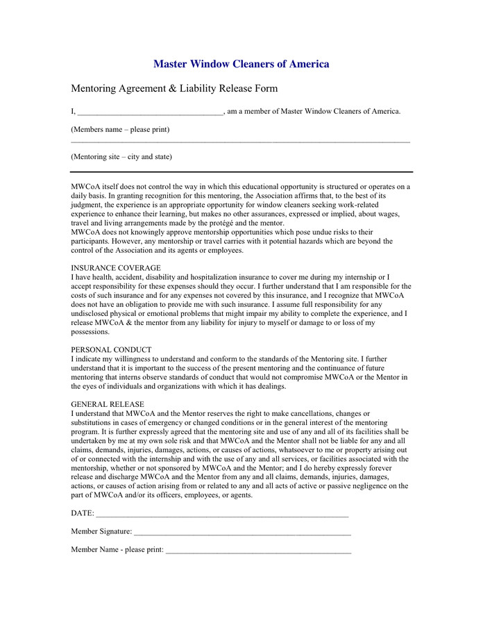 mentoring agreement liability release form