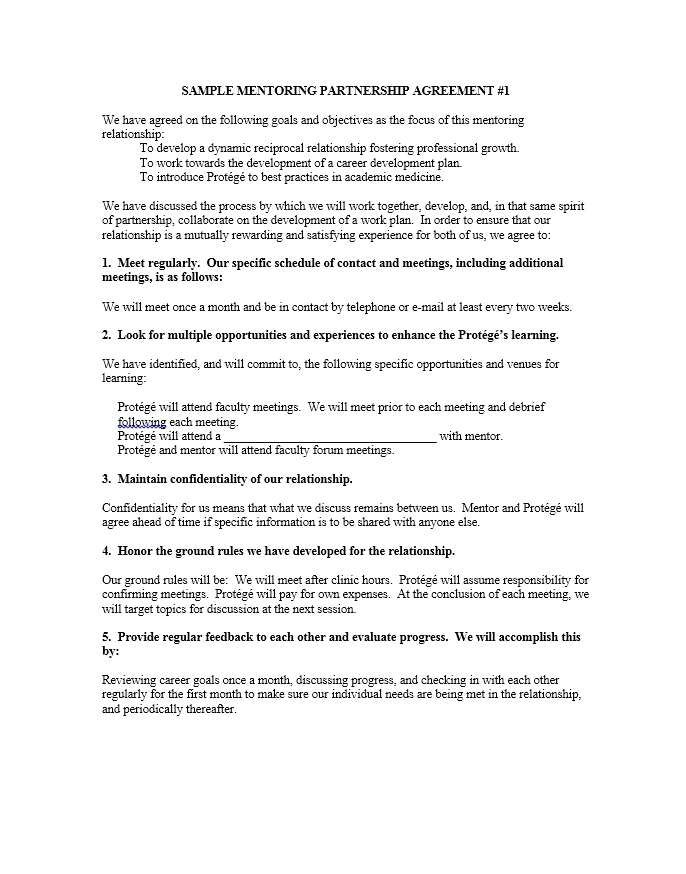mentoring agreement sample clean mentor protege agreement template emsecfo eu k110283