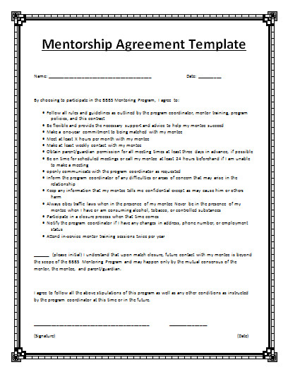 Mentoring Contract Template Mentorship Agreement Template by Agreementstemplates org