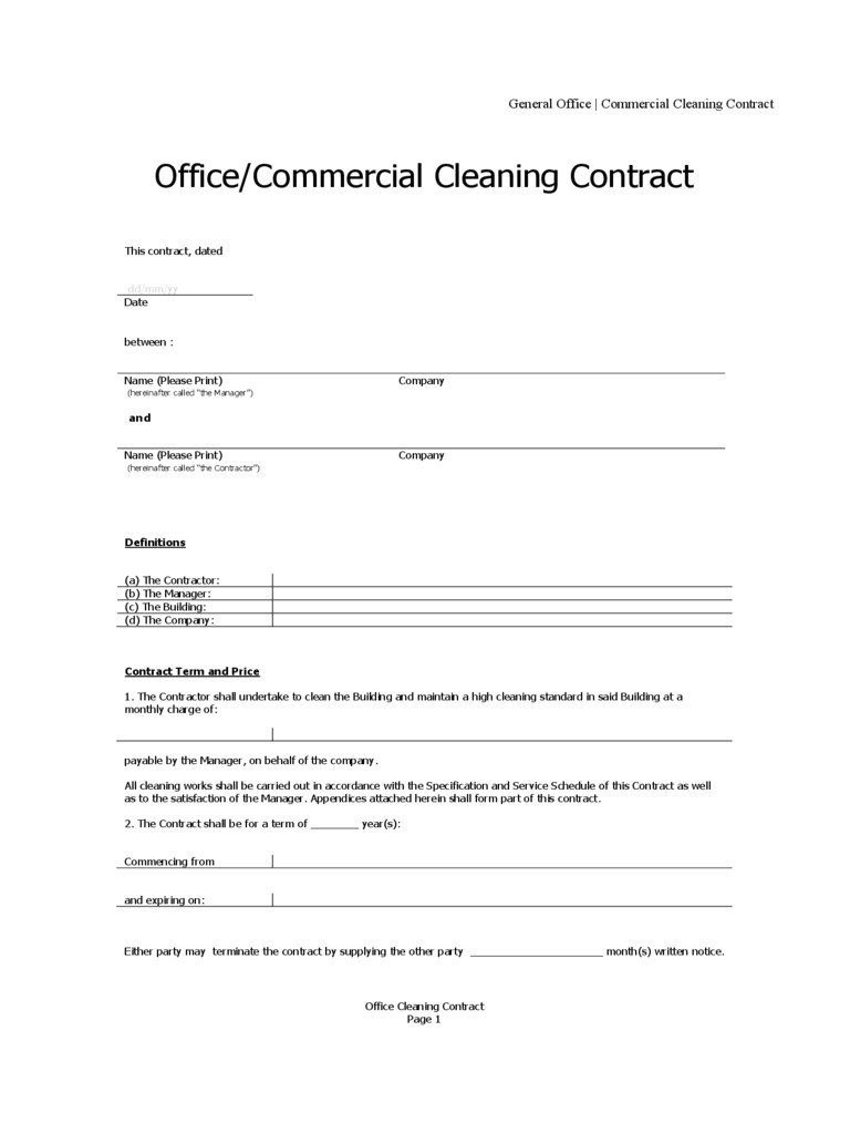 cleaning contract template