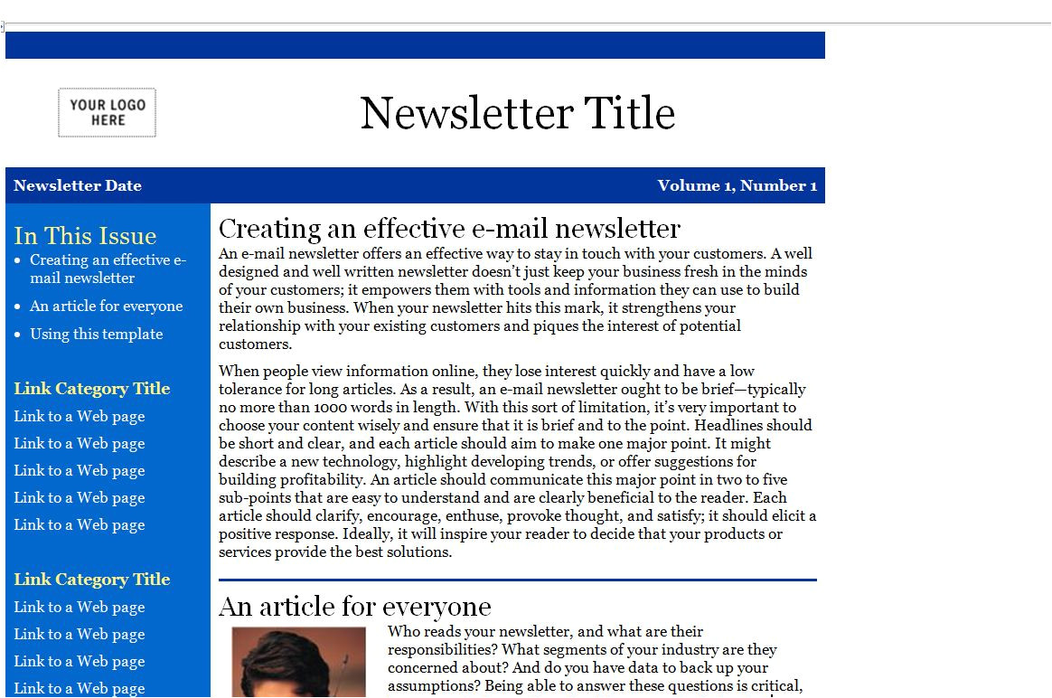 newsletter template microsoft outlook