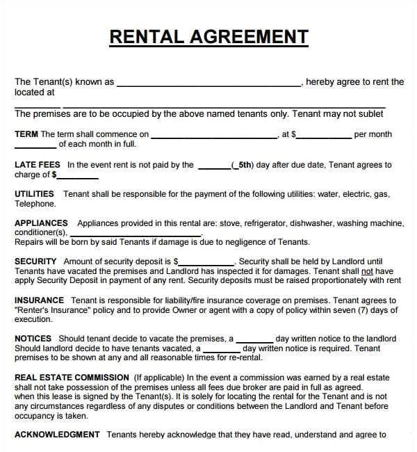 rental agreement templates