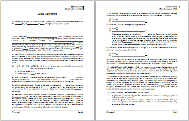 ms word lease agreement template
