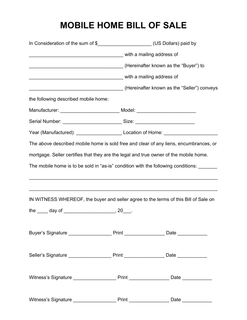 mobile home purchase agreement