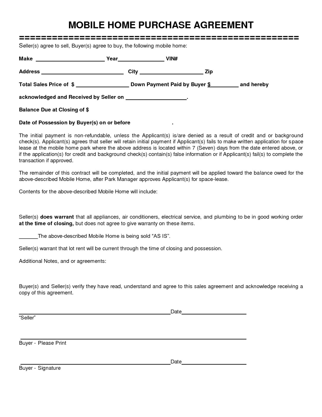 Mobile Home Sales Contract Template Mobile Home Purchase Agreement Gtld World Congress