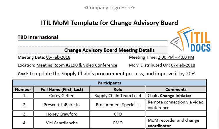 itil mom template for change advisory board