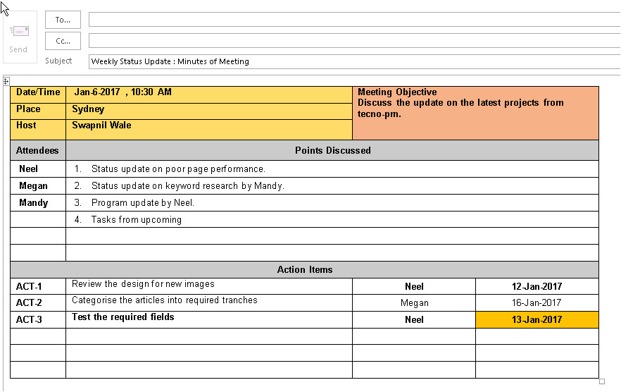 effective meeting minutes template