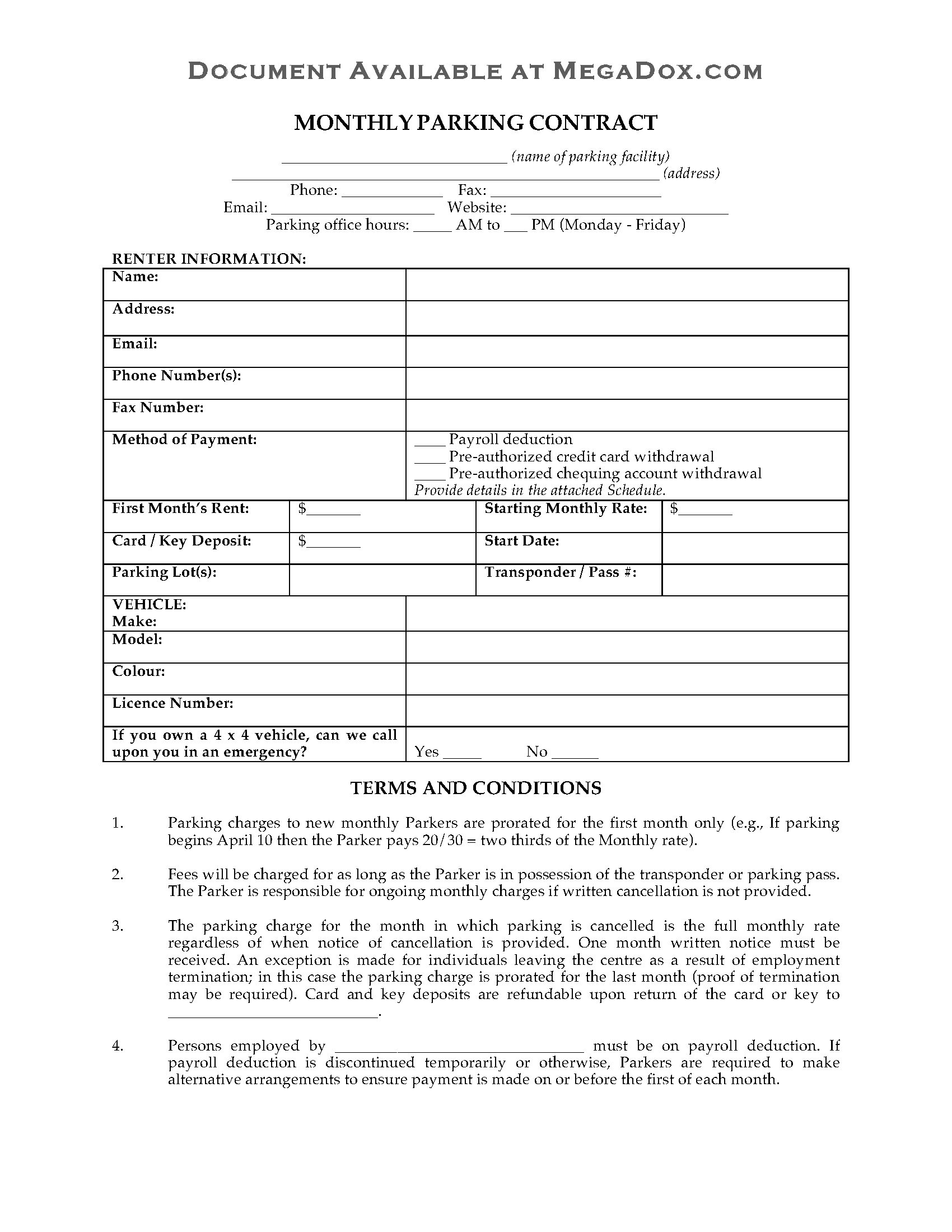 canada monthly employee parking contract