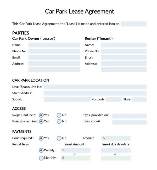 parking agreement template