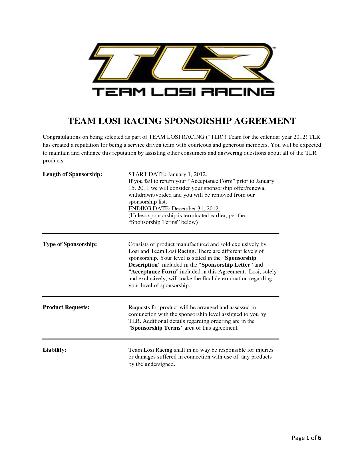 Motorsport Sponsorship Contract Template Team Losi Racing Sponsorship Agreement Chainimage