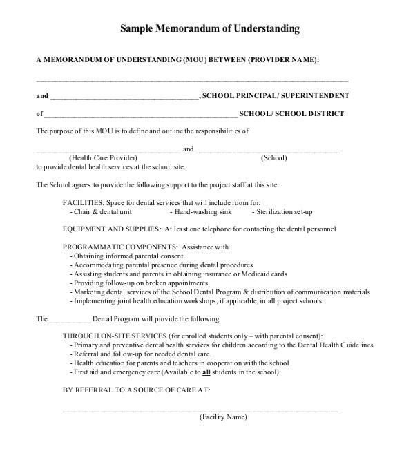 sample memorandum of understanding