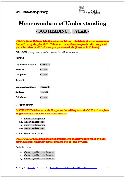 memorandum of understanding mou template
