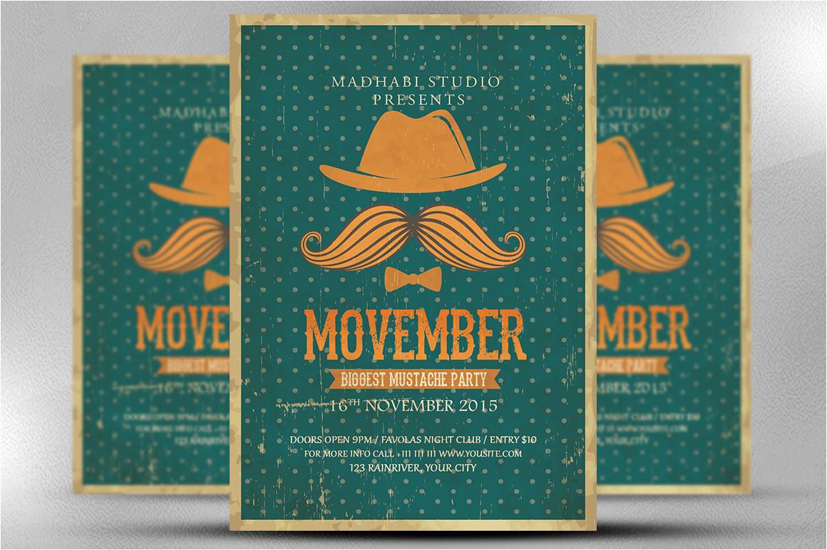 412111 vintage movember flyer template