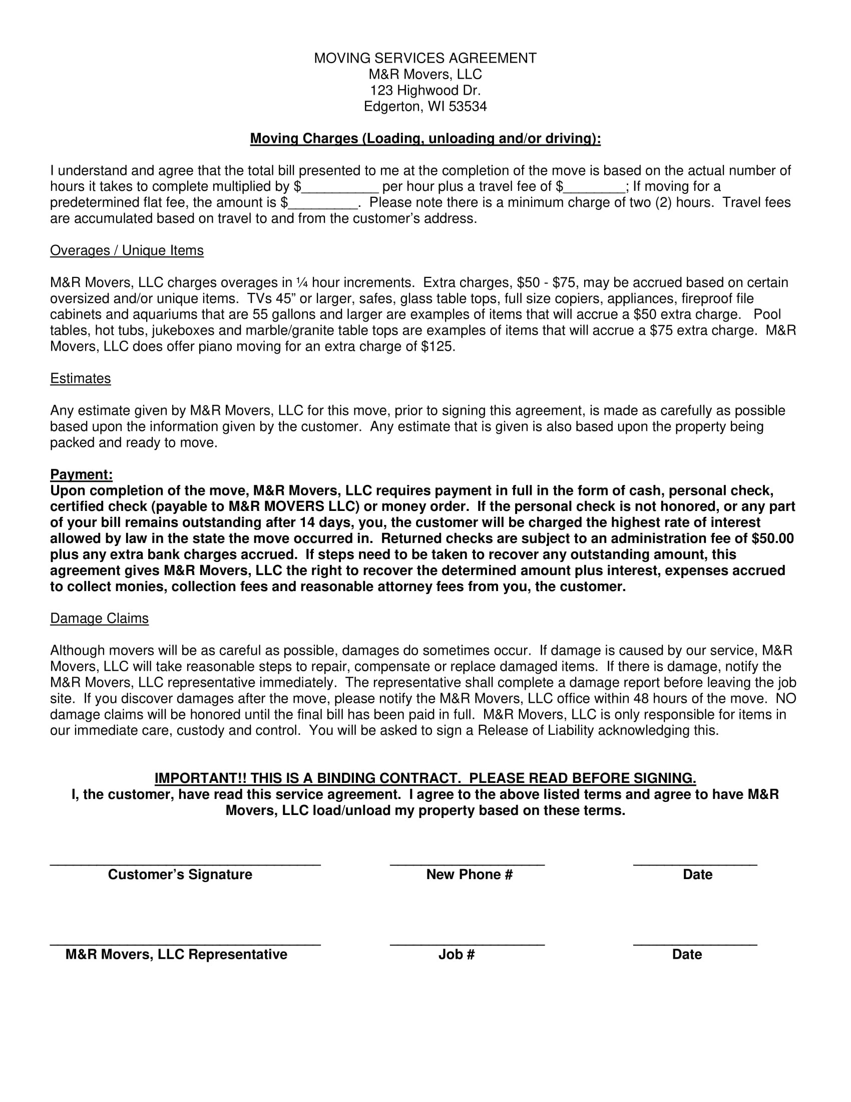 moving company contract template examples