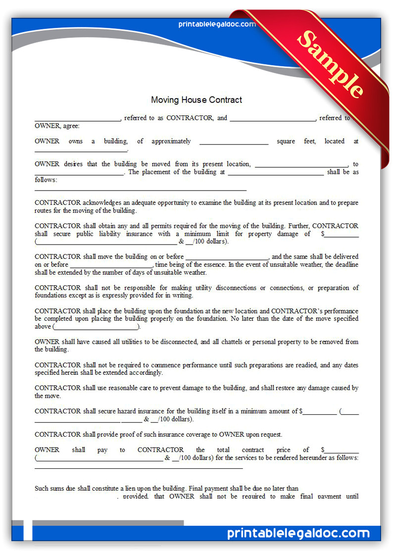 Moving Contract Template Free Printable Moving House Contract form Generic