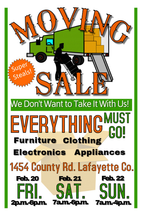 Moving Sale Flyer Template Free Custom Poster