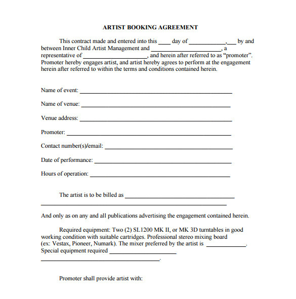 booking agent contract template