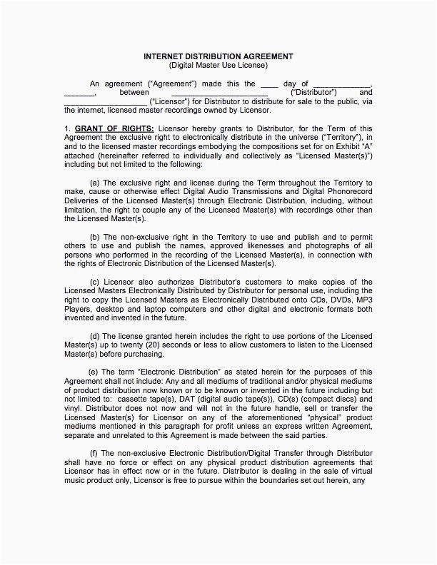 book distribution agreement template original digital music download distribution contract mo d121600