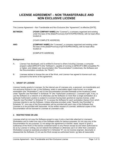 license agreement nontransferable and non exclusive license d1022