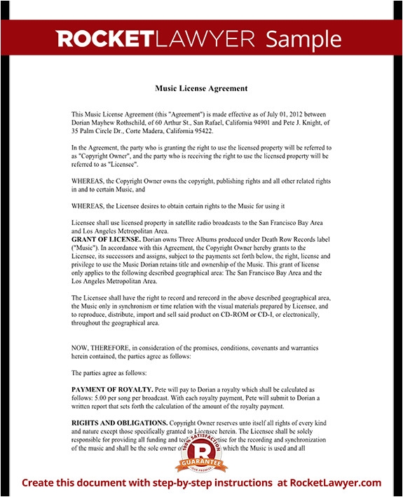 music license agreement rl