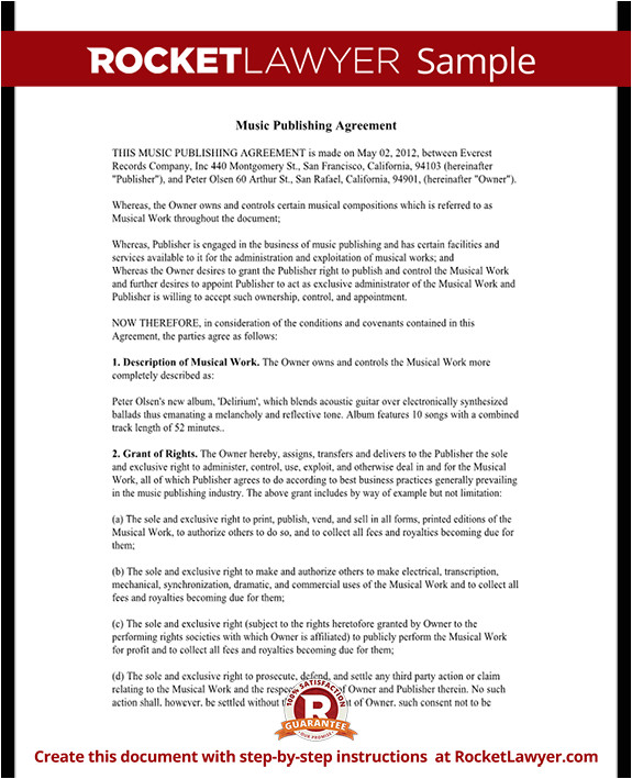 Music Publishing Contract Template Music Publishing Agreement Free form with Sample