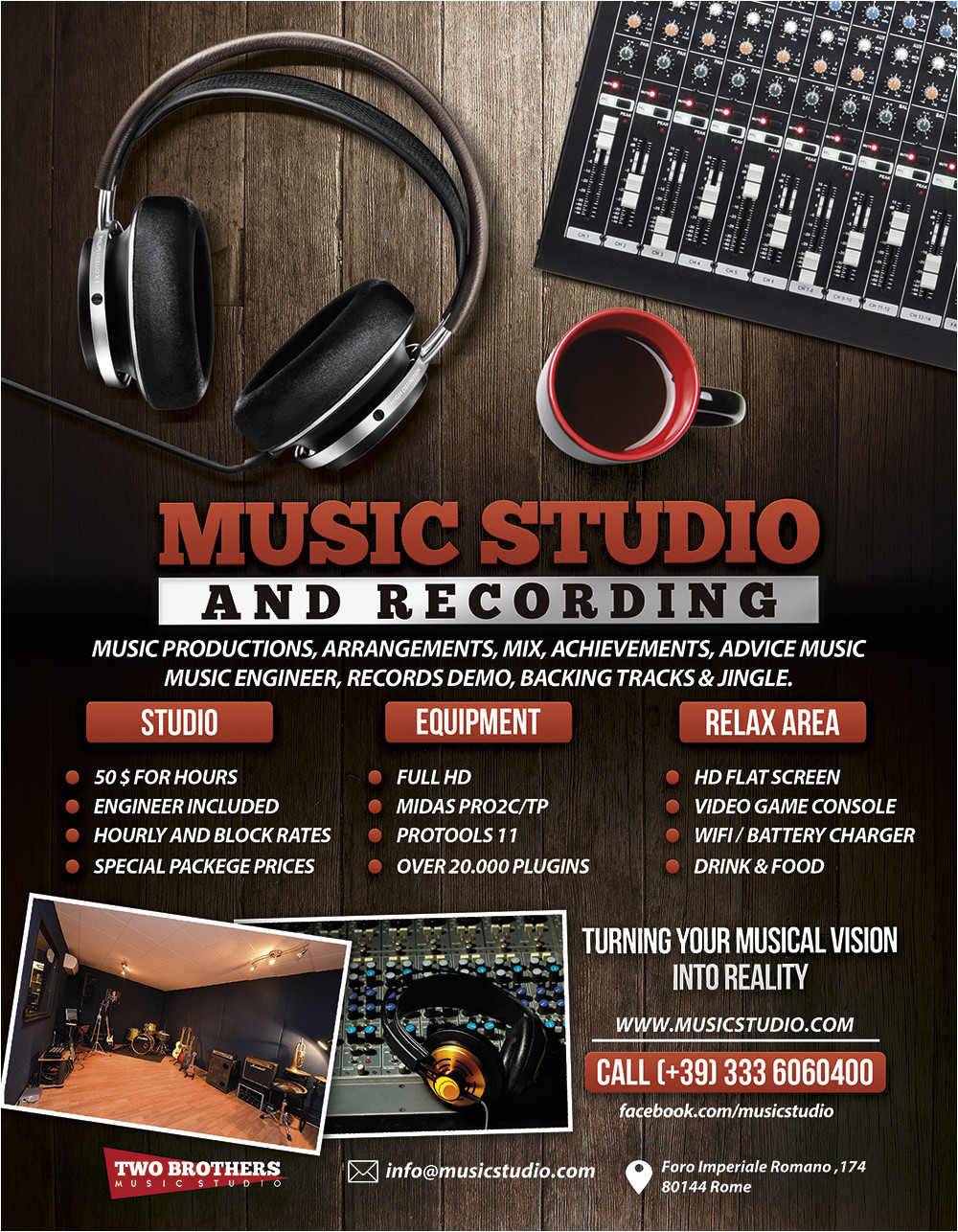 music recording studio 2 flyer poster 526404790