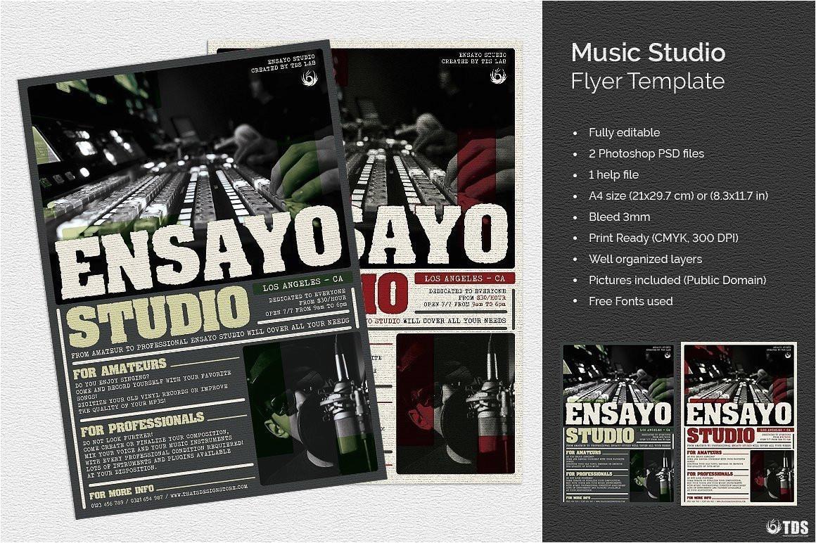 music studio flyer psd design template