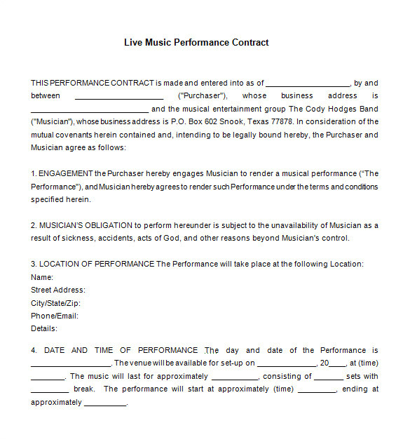Musician Contract Template Free 20 Music Contract Templates Word Pdf Google Docs