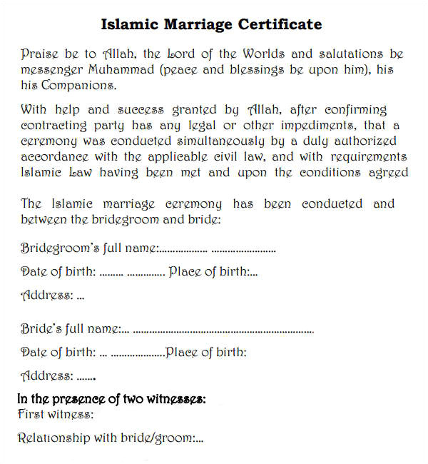 how to get muslim marriage certificate
