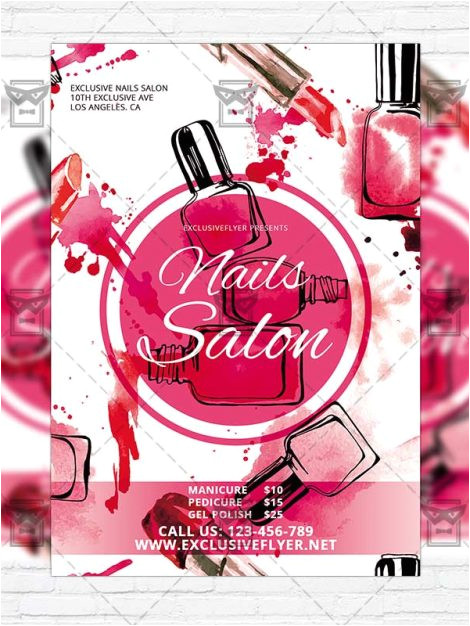 Nail Salon Flyer Templates Free Nails Salon Free Club and Party Flyer Psd Template