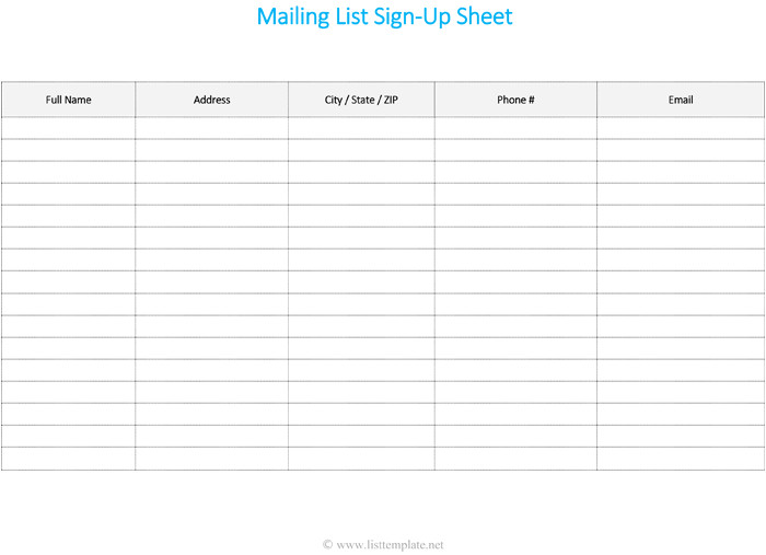 contact list templates
