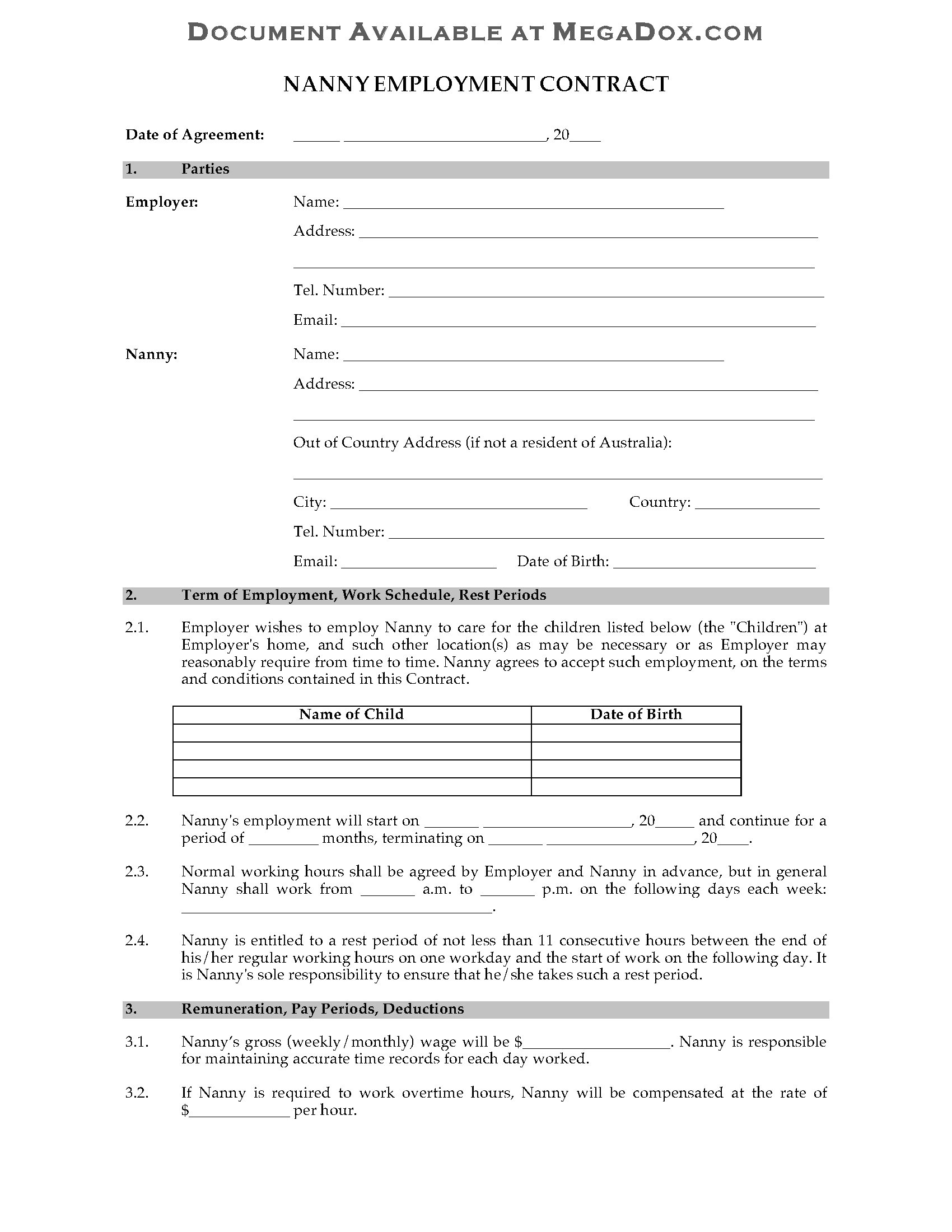 Nanny Contract Template Australia Australia Nanny Employment Contract Legal forms and