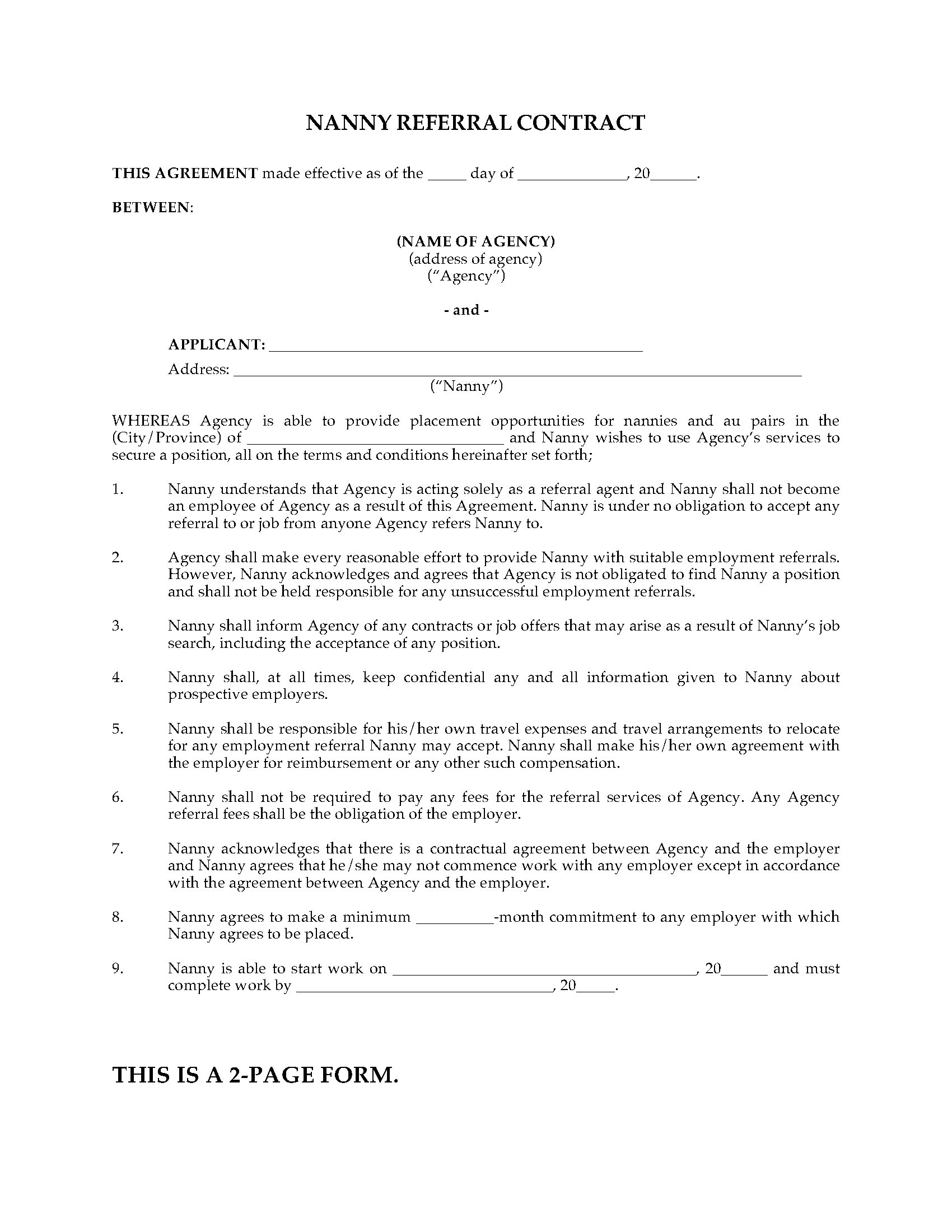 canada nanny referral contract
