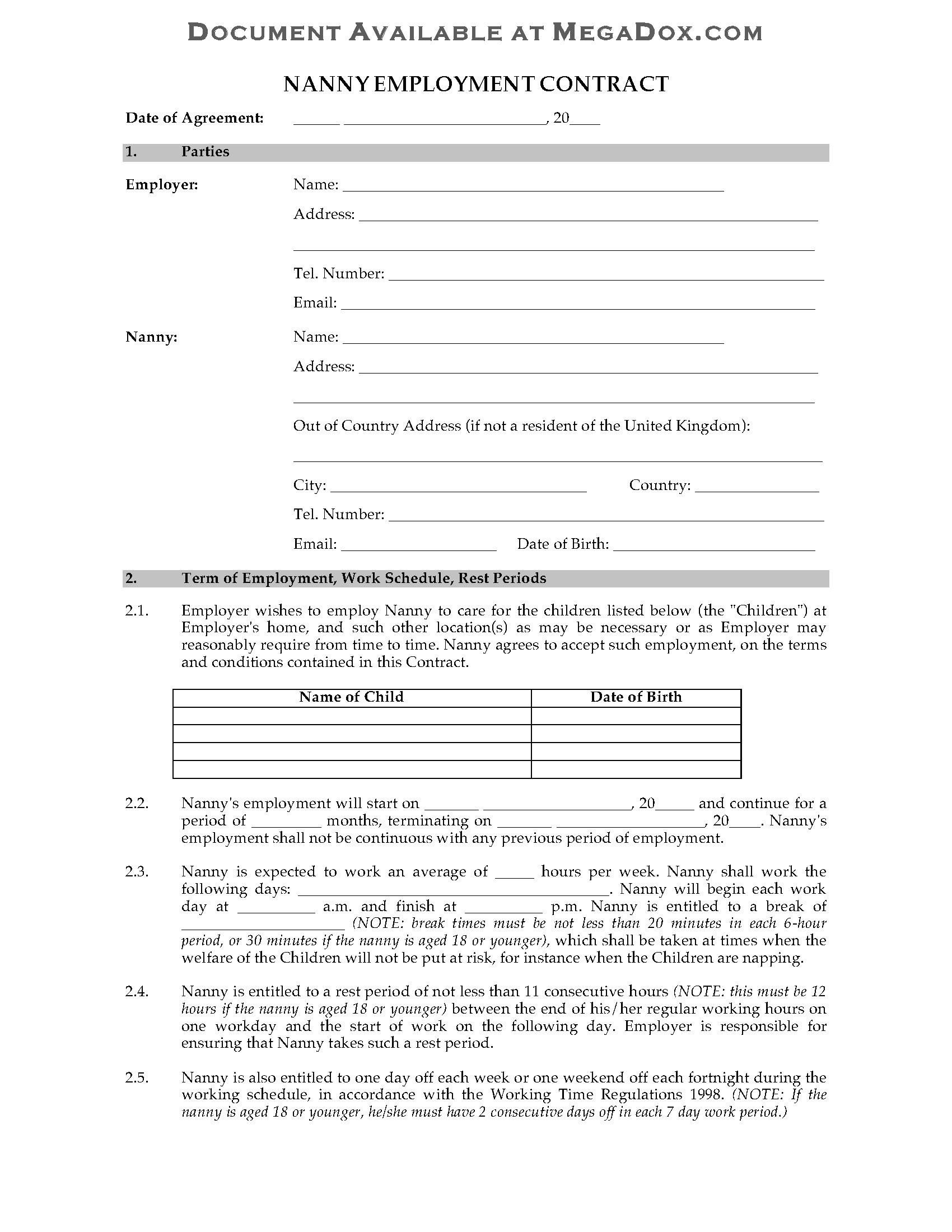 Nanny Contract Template Uk Uk Nanny Employment Contract Legal forms and Business