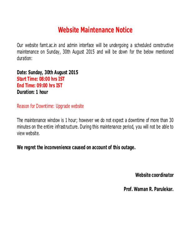 maintenance notice templates