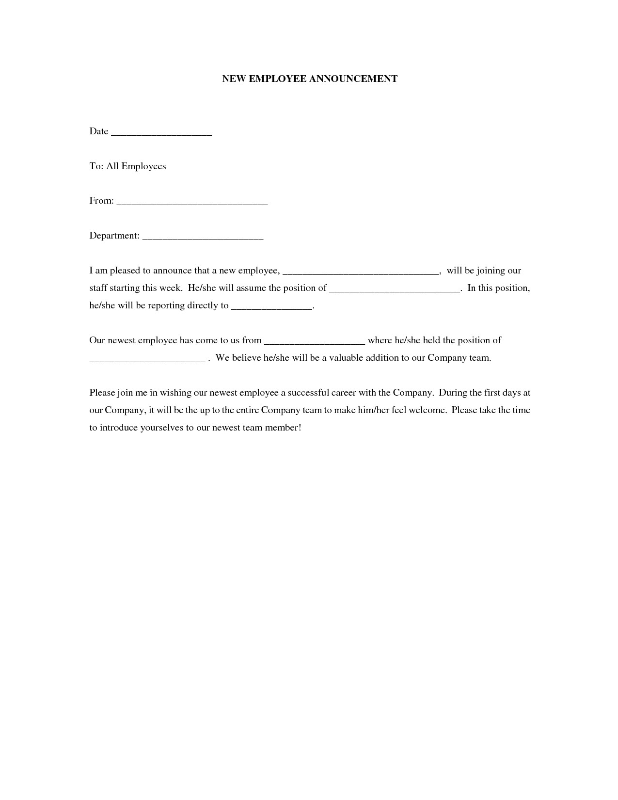 post new employee announcement letter 370390