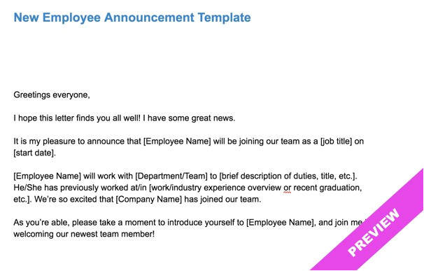 new employee announcement template