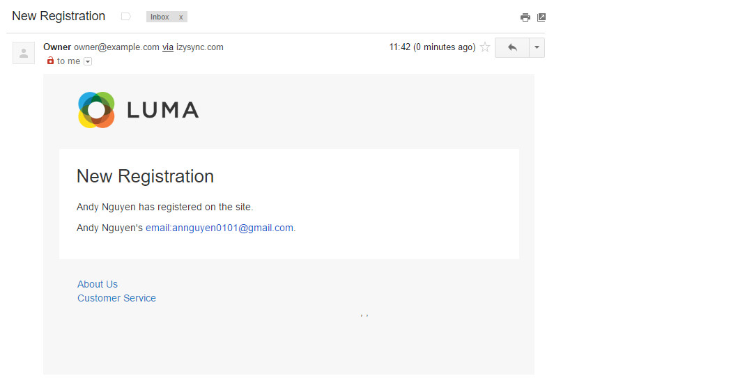 admin email notifications when new customer register