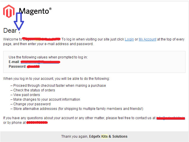 magento new account email template customization