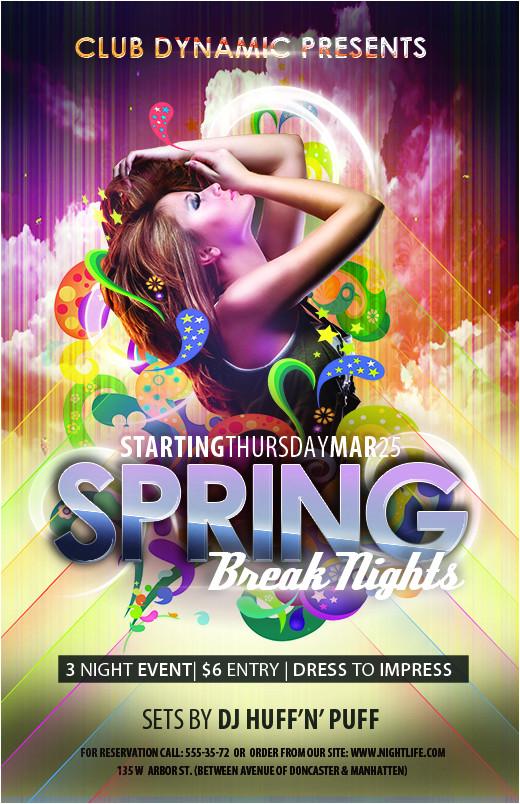 free club flyer templates spring break photoshop