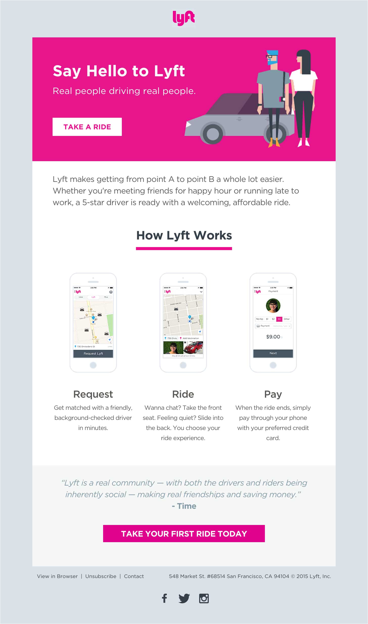 lyft welcome email