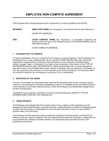 No Compete Contract Template Employee Non Compete Agreement Template Word Pdf by