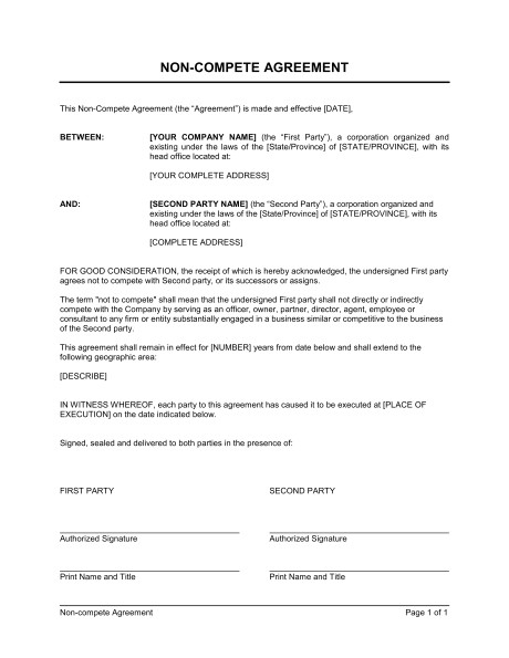 No Compete Contract Template General Non Compete Agreement Template Sample form