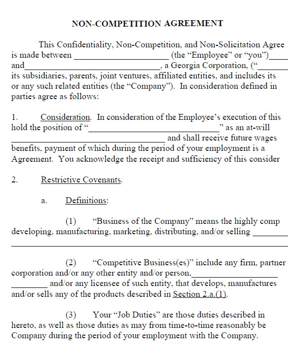 No Compete Contract Template Non Compete Agreement 13 Free Pdf Word Download